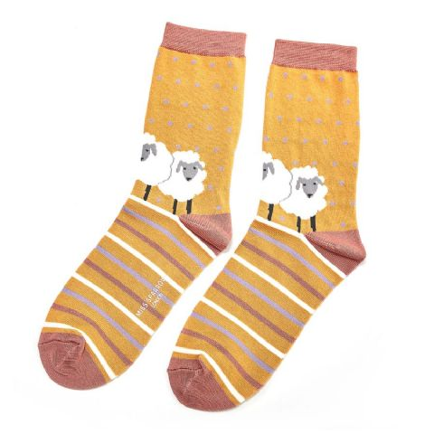 SHEEP FRIENDS SOCKS MUSTARD